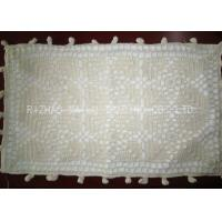 White Oblong Shape Crochet Cushion Cover 45cm x 75cm With Ball Trimming