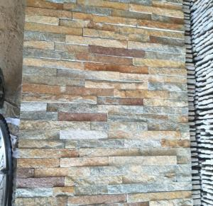China Rusty yellow beige grey slate cultured stone wall panels veneer cladding tiles stacked sotne ledge stone glued on sale