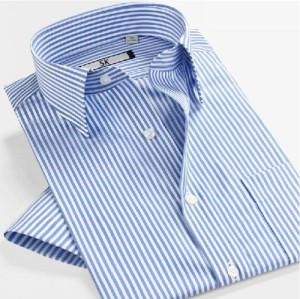 China Men's Non Iron Shirts » Men's Business Short Sleeve Slim Fit Cotton Stripe Shirts on sale