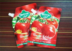 China Flexible Packaging Stand Up Bags With Spout Tomato Sauce Packaging Bag With Spout on sale