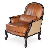 China classic wood chair designs antique wood carved back chair vintage leather club chair on sale