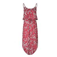 Lotus Leaf Long Dress With Slit / One Piece Red Summer Dresses For Women
