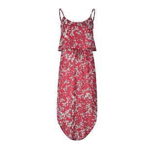China Lotus Leaf Long Dress With Slit / One Piece Red Summer Dresses For Women on sale