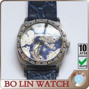 China Pisces Constellation Citizen Diamond Wrist Watch , Warm Blue Strap Quartz Analog Watch on sale
