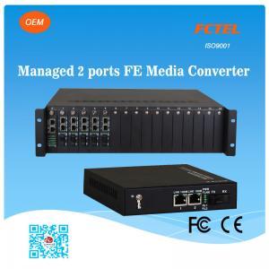 China FCTEL Managed 2 Ports 10/100M Ethernet NMS Fiber Media Converter RJ45 POE Transceiver on sale