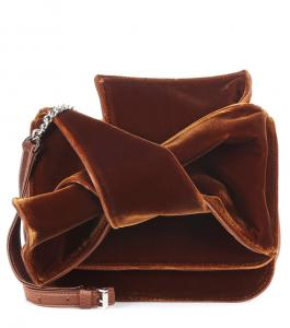 China New Design Velvet Shoulder Bag For Women Small Crossbody Bag with exaggerate Bow in Black and Brown color Chain Handbags on sale