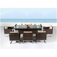 Contemporary Outside Rattan Dining Set for Western Restaurant , 8 Seater