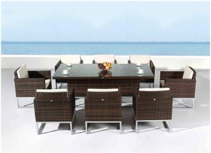 China Contemporary Outside Rattan Dining Set for Western Restaurant , 8 Seater supplier