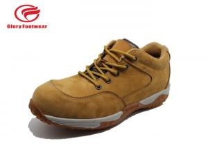 China Cow Leather Casual PU Sole Safety Shoes , Hiking Steel Toe Cap Trainers Anti-Skidding on sale