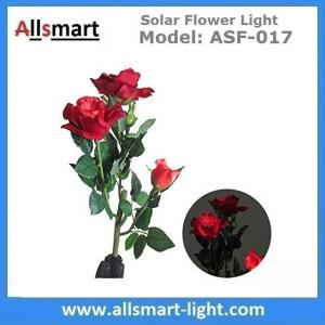 China 3LED Red Rose Flower Solar Lights Solar Powered Outdoor Waterproof Garden Lawn Balcony LED Lamps Landscape Decorative on sale