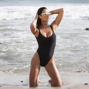 China Black Retro Womens Swimming Suits High Cut Low Back One Piece Swimwear on sale