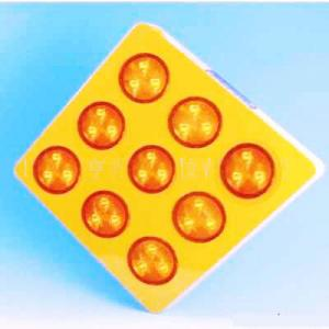 China Yellow Solar Warning Sign Dia.100mm LED Flasthing Lighted Traffic Signs on sale