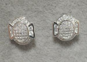 China Grid Compass 925 Sterling Silver Earrings With AAA Clear Zircon on sale
