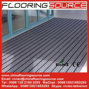 China Outdoor Commercial Aluminum Doormat Aluminum extrusion frame carpet brush rubber infill Entrance Carpet Floor Covering on sale