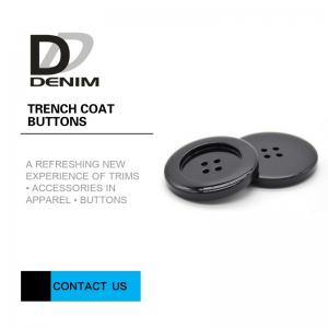 China Washable DTM Resin Trench Coat Buttons With Customized Engraved Logo on sale