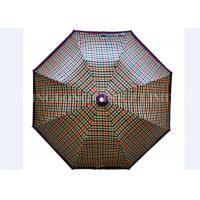 UV Print Vintage Lightweight Folding Umbrella , Gird Pattern Automatic Sun Umbrella