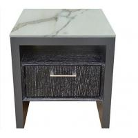 Stone Top Night Stands Oak Wood For Hotel Bedroom , Metal Brushed Handle