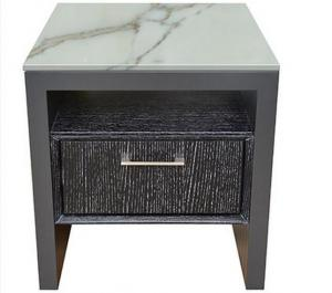 China Stone Top Night Stands Oak Wood For Hotel Bedroom , Metal Brushed Handle on sale