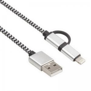 China 2-In-1 Durable Lightning To USB Data Sync Charging Cable , Cell Phone Usb Power Cable on sale