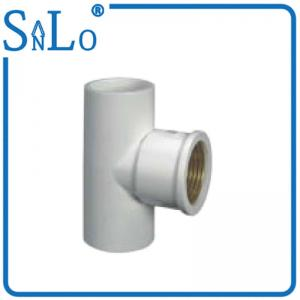 China Flexible Plastic 20 - 32 Mm PVC Water Pipe Fittings , White Copper Threaded Coupling on sale