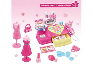 China 18  Shopping Pretend Play Cash Register Children's Play Toys Pink Caculator Scanner on sale