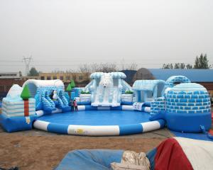 China high quality snow design inflatable water park for kids and adult on land on sale