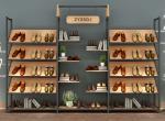 Metal Frame Free Standing Shoe Display Rack / Shoe Display Wall Shelves Adjustable Layer