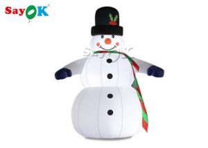 China Oxfor Cloth Inflatable Holiday Decorations Wearing Black Hat And Mittens Blow Up Christmas Snowman on sale