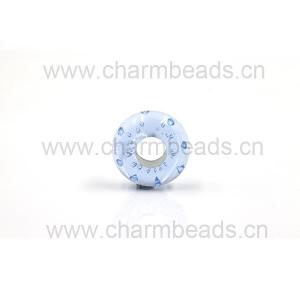 China OEM Murano Glass Beads with Love shape Cubic Zircon Stone fit for European Bracelet on sale