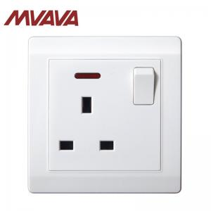 China MVAVA UK switched socket with 1 gang & neon fire-proof PC frame residential / hotel use on sale