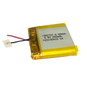 China 3.8V High Voltage Li-polymer Battery 382727 260mAh Rechargeable Lithium Ion Battery on sale