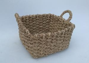 China Beachcomber utility basket, Rush hand woven storage basket  with handle, rectangle shape,natrual color,wicker basket on sale