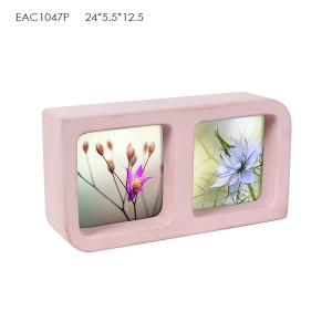 China Pink Rectangle Concrete Picture Frame Abstract Paintings 2 Pcs For Girl on sale
