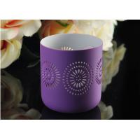 Purple pattern Porcelain Candle Holder Bowl / Hollow Ceramic Candle Houses