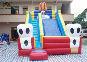 China Blue Cat Outdoor PVC Tarpaulin Dry Slide Inflatable Garden Dry Slides For Parties on sale