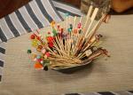 Bamboo / Wooden Flat Kebab Skewers , Decorative Cocktail Picks Customized