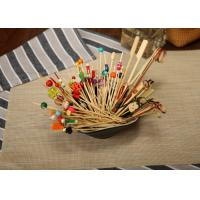 China Bamboo / Wooden Flat Kebab Skewers , Decorative Cocktail Picks Customized on sale