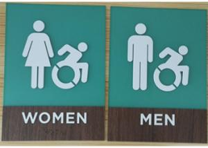 China Three Dimensional ADA Compliant Restroom Signage Wood Grain Laminate Clear Grade II Braille on sale