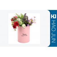 Waterproof Pink Cardboard Flower Boxes Handmade Round Corrugated Boxes