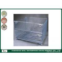 Galvanized foldable wire stackable storage bins , warehouse storage cage