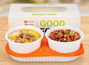 China Creative lunch box takeaway pack set double soup bowl bento on sale