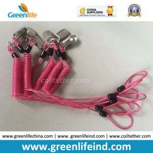 China Custom Special OEM Rose Red Spring Coiled Leash w/Metal Alligator Clip and Loop End on sale
