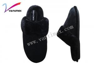 China Black Home Cotton Womens Bedroom Slippers Warm Antiskid TPR with fabric on sale