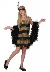 China 20s Costumes Teen Girl Halloween Costumes Child Gold and Black Fringe Flapper Costume on sale