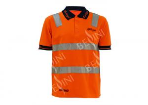 China Safety Long Sleeve Polo Work Shirts , Hi Vis Polo Shirts With Reflective Tape on sale