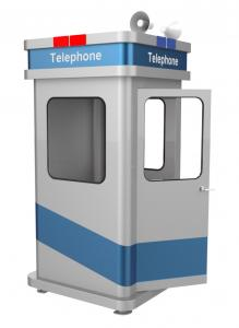 China Vandal Resistant Soundproof Phone Booth Robust Galvanised Metal Material Stand Alone on sale