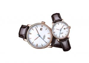 China 24 Jewels Couple Automatic Watch , Steel Automatic Watch With Genuine Leather Strap on sale