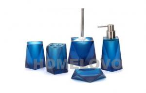 China Blue 5 Piece soap Dispenser Plastic Bathroom Accessories Custom bath sets on sale