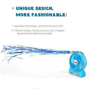China 3 Speeds Portable Mini USB Fan, desk fan, Battery or USB-Powered with LED Light on sale