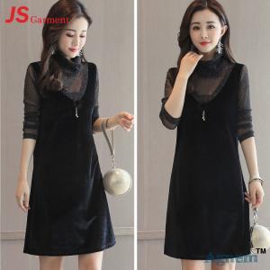 China 39 8712 Hot Sale Autumn Winter Stitching Long Sleeve Fashion Women Velvet Dress on sale